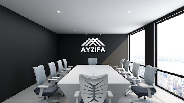 Close-up na maquete de logotipo realista prateado na sala de reuniões