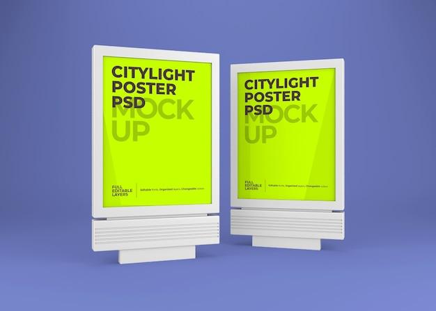 Close-up na maquete de pôster citylight isolada