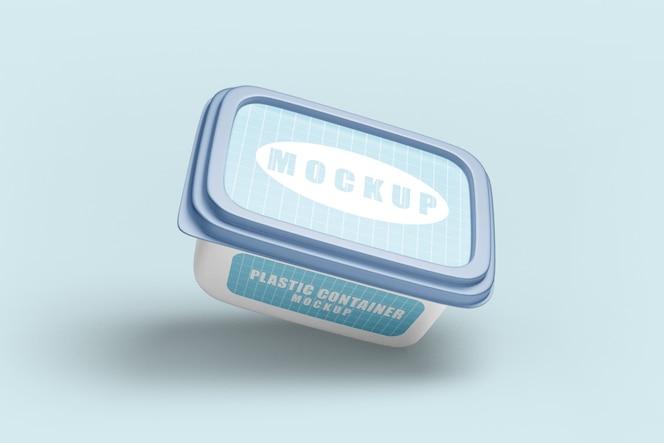 Close-up na maquete de recipiente de plástico para comida
