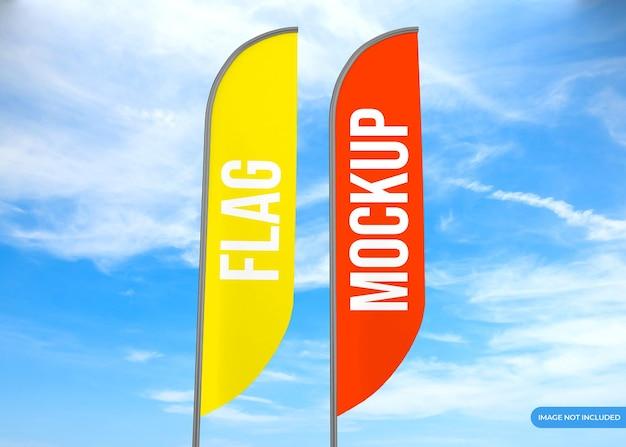 Close-up na maquete de renderização da bandeira do anúncio