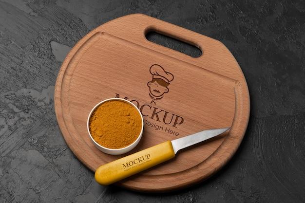 Close-up na maquete de tábua de madeira