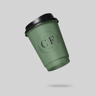 Close-up na maquete de xícara de café flutuante