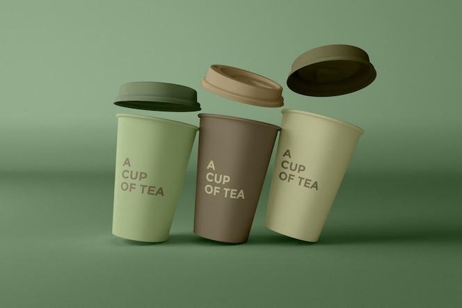 Close-up na maquete de xícaras de café