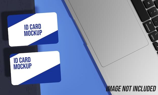 Close-up na maquete do cartão de identificação para negócios na mesa