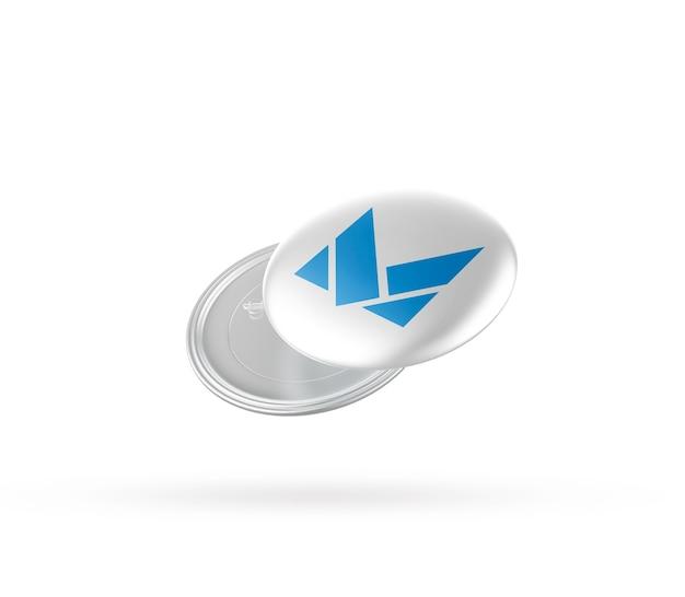 Close-up na maquete do emblema de metal isolada