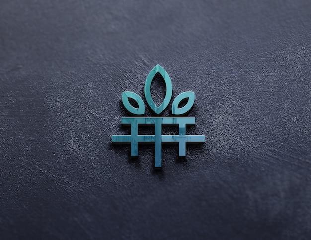 Close-up na maquete do logotipo da folha de luxo