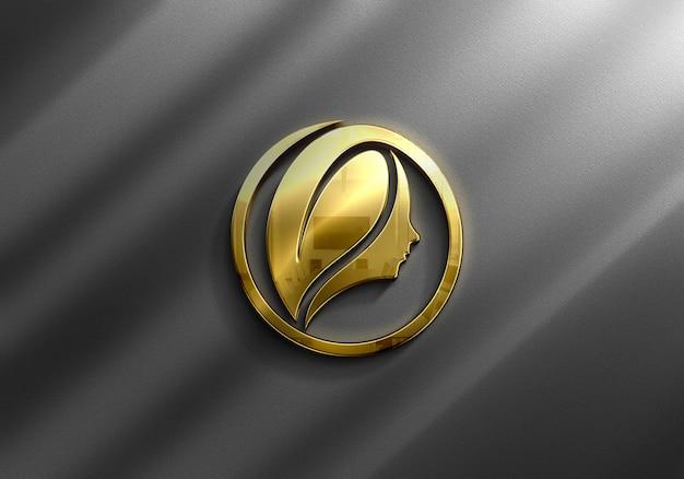 Close-up na maquete do logotipo de ouro de luxo