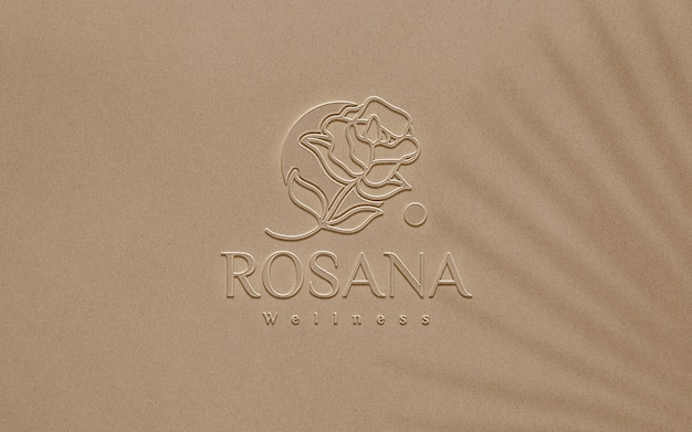 Close-up na maquete do logotipo de plástico em relevo