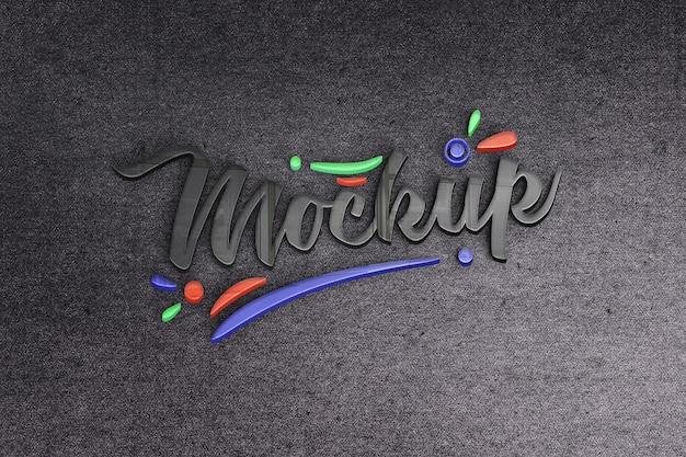 Close-up na maquete do logotipo de textura de vidro colorido