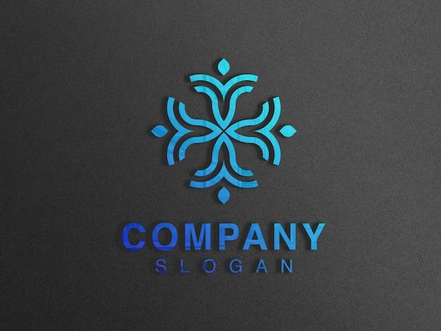 Close-up na maquete do logotipo de vidro