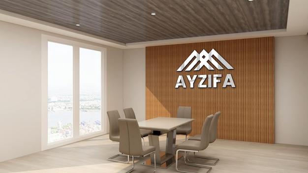 Close-up na maquete do logotipo do escritório na sala de reuniões com design de interiores de madeira