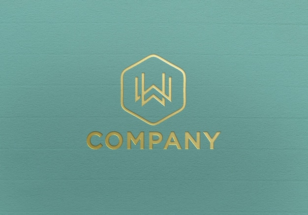 Close-up na maquete do logotipo dourado