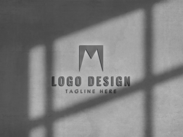 Close-up na maquete do logotipo na parede
