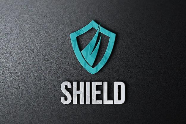 Close-up na maquete do logotipo no design da parede