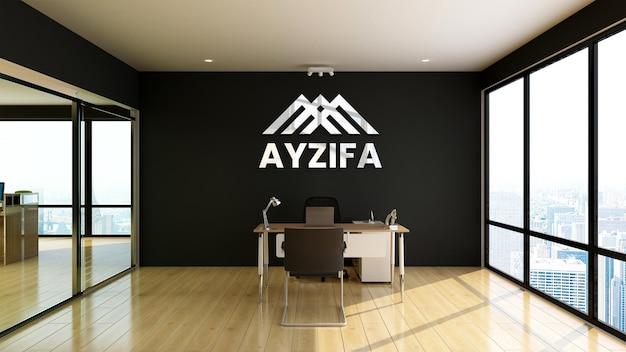 Close-up na maquete do logotipo no escritório de gestão