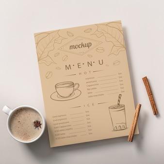 Close-up na maquete do menu de café
