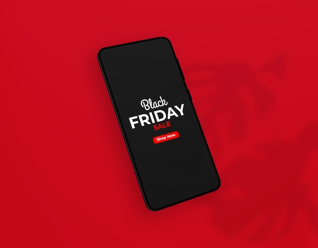 Close-up na maquete do smartphone black friday