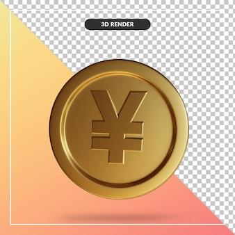 Close-up na renderização 3d do iene moeda isolada