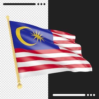 Close-up na renderização da bandeira da malásia isolada