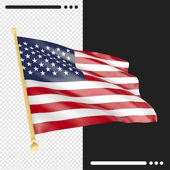 Close-up na renderização da bandeira dos estados unidos isolada