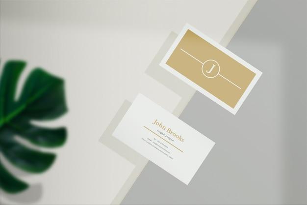 Close-up na simulação de cartão de visita mínimo