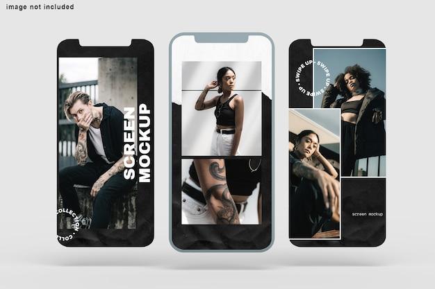 Close-up na tela do telefone maquete isolada Psd Premium