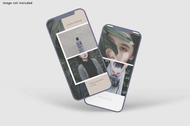 Close-up na tela do telefone maquete isolada