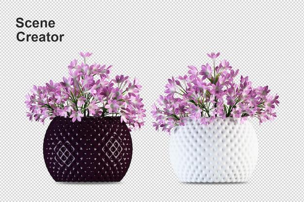Close-up nas flores na maquete 3d do interior do vaso