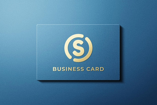 Close-up no design da maquete do cartão de visita azul