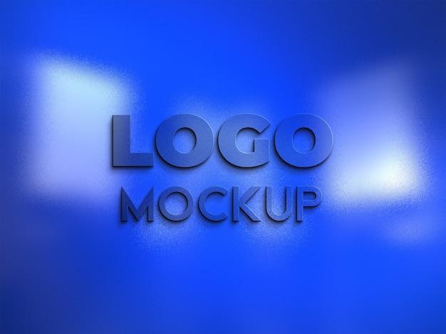 Close-up no design da maquete do logotipo da parede azul