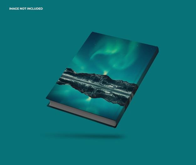 Close-up no design de maquete de folha de livro flutuante