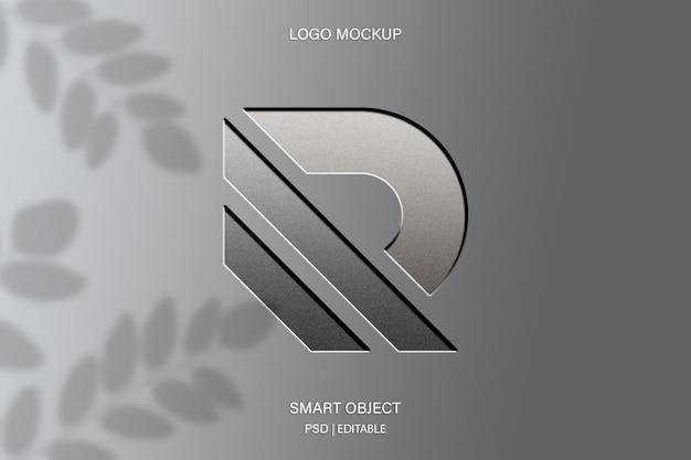 Close-up no design de maquete do logotipo em relevo