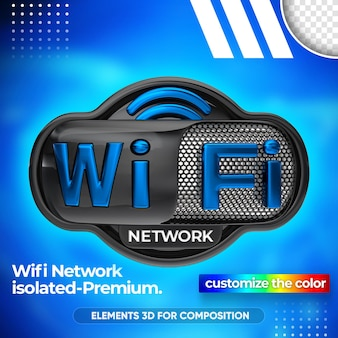Close-up no design de renderização 3d da rede wi-fi