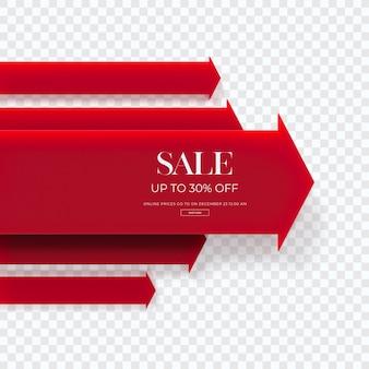 Close-up no diagrama de venda vermelho 3d isolado