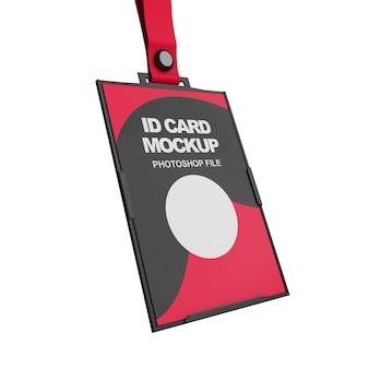 Close-up no modelo de cartão de identificação isolado