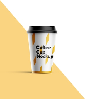 Close-up no paper cup mockup isolated