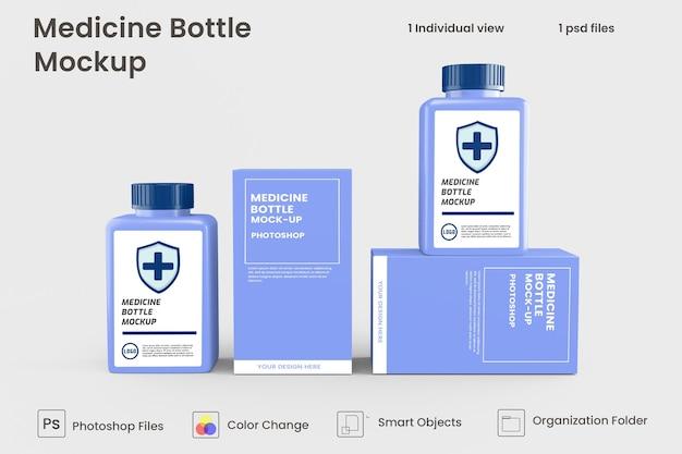 Close-up no projeto de maquete de frasco de remédio