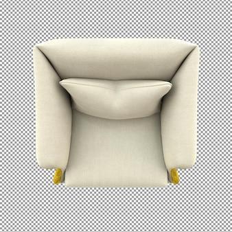 Close-up no sofá dourado renderizando a vista superior de pano branco isolado
