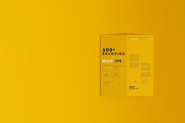 Close up on packaging of bi fold dl brochure mockup