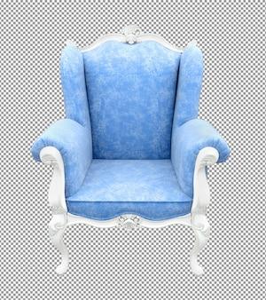 Close-up sofá branco azul renderizando ângulo isolado dois