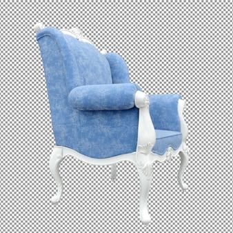 Close-up sofá branco azul renderizando ângulo isolado um