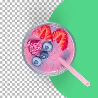 Close-up vista suco de frutas da baga com morango e palha rosa.