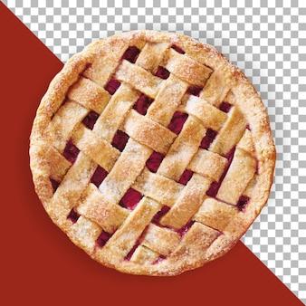 Close-up vista torta de maçã vermelha isolada