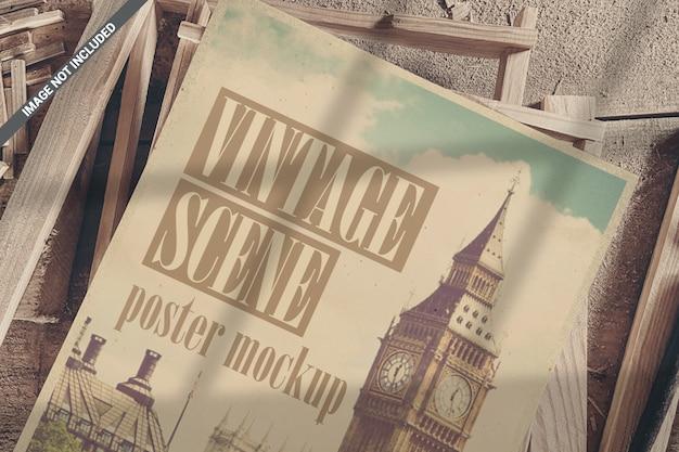 Closeup de cartaz na maquete de vista superior de molduras de madeira