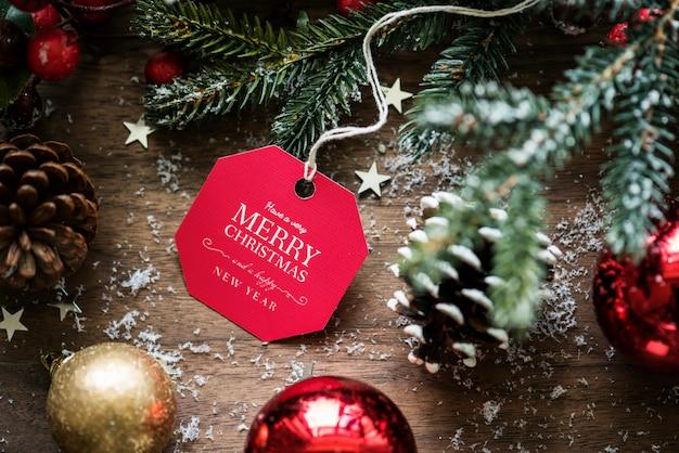 Closeup de natal desejando cartão tag