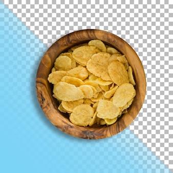 Closeup exibição de flocos de milho na tigela de madeira sobre fundo transparente.