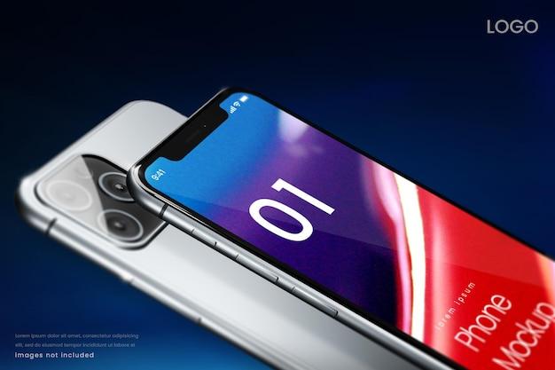 Closeup maquete de telefone em fundo azul escuro