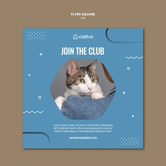 Clube dos amantes do gato panfleto quadrado