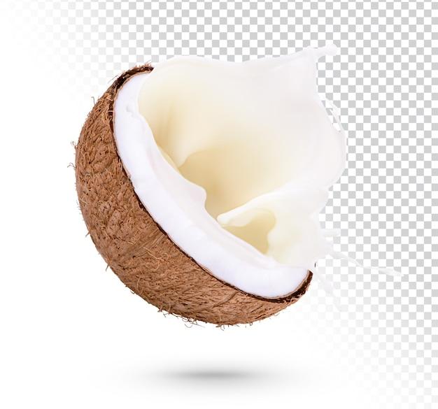 Cocos com respingos de leite isolados premium psd
