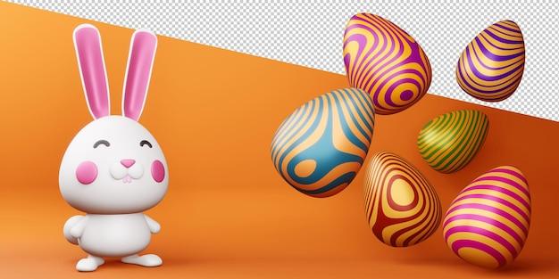 Coelhinho fofo feliz dia de páscoa com renderização 3d de ovo colorido